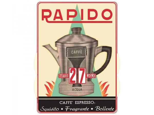 画像1: 万年カレンダー エスプレッソコーヒー モカ CAFFE' RAPIDO - イタリア インテリア【カラー・レッド】【カラー・マルチ】