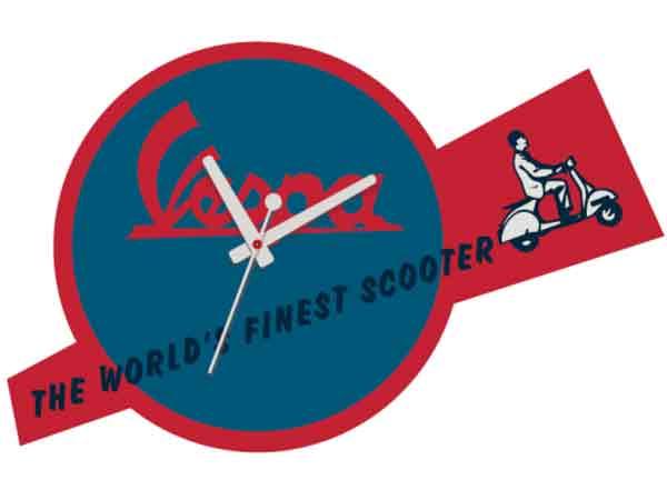 画像1: 4種展開 VESPA 壁掛け時計 ヴェスパ【カラー・ブルー】【カラー・レッド】【カラー・マルチ】