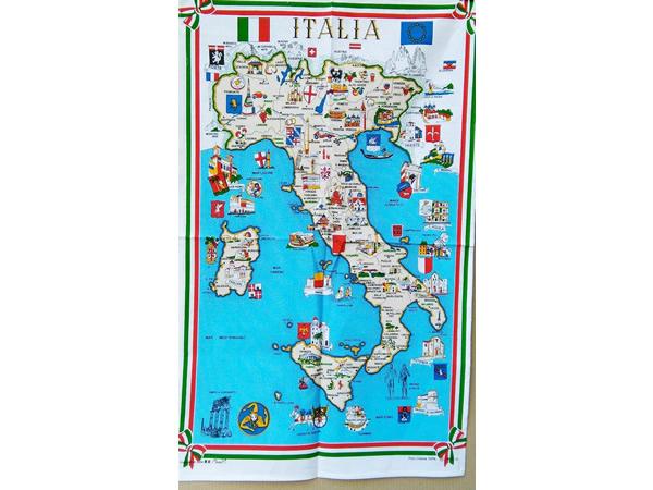 画像1: イタリア・名所マップ☆イタリア製コットン大判布巾 【カラー・マルチ】