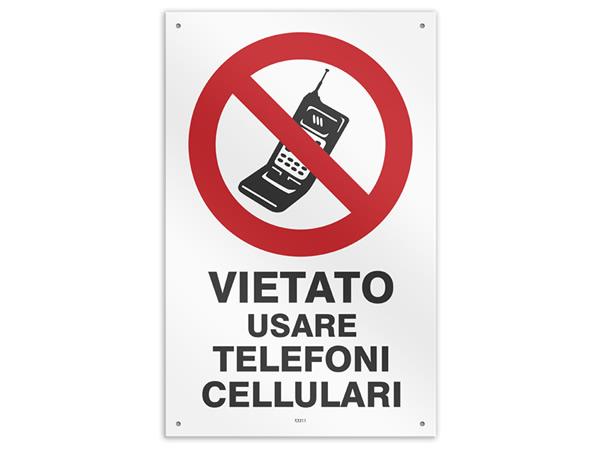 画像1: イタリア語表記  携帯電話・スマホの使用禁止 VIETATO USARE TELEFONI CELLULARU 20 x 31 cm 【カラー・レッド】【カラー・ホワイト】