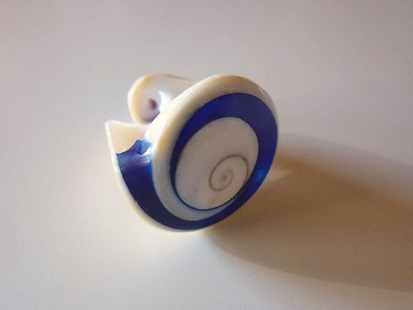 画像5: 渦巻き模様が美しい貝の指輪  【カラー・ホワイト】【カラー・ブルー】