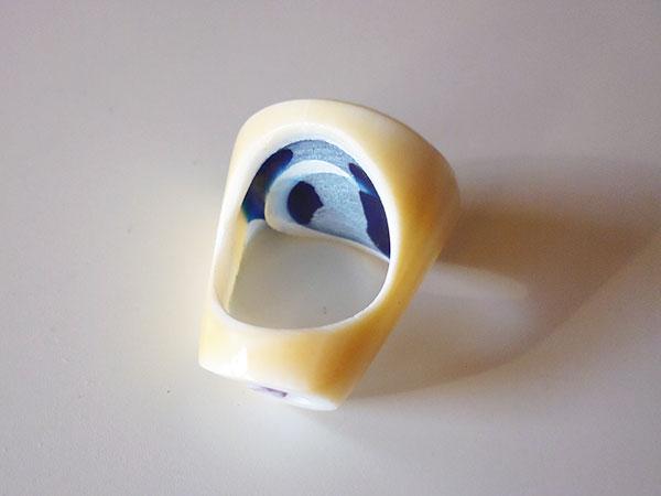画像3: 渦巻き模様が美しい貝の指輪  【カラー・ホワイト】【カラー・ブルー】