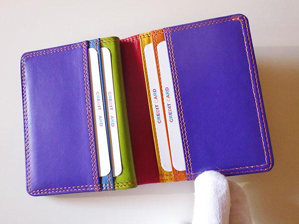 画像5: 沢山入る革のカラフル・カードケース 【カラー・レッド】【カラー・マルチ】