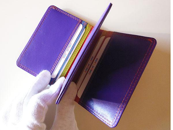 画像4: 沢山入る革のカラフル・カードケース 【カラー・レッド】【カラー・マルチ】