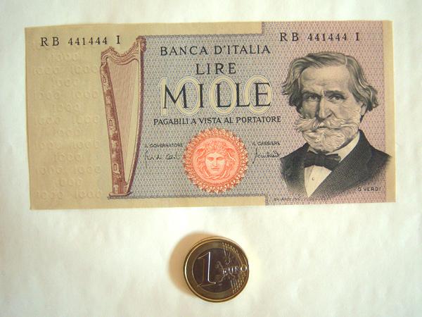 画像2: イタリアのリラ紙幣 1000リラ ジュゼッペ・ヴェルディ【カラー・ブラウン】