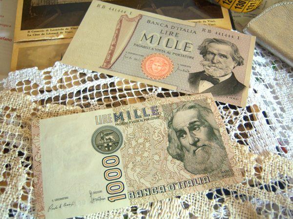 画像4: イタリアのリラ紙幣 1000リラ ジュゼッペ・ヴェルディ【カラー・ブラウン】