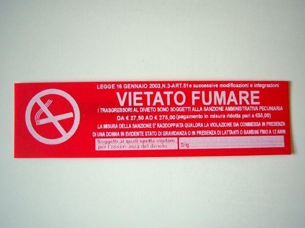画像1: イタリア語表記シール貼付けタイプ  禁煙 VIETATO FUMARE ROSSO 【カラー・レッド】【カラー・ホワイト】