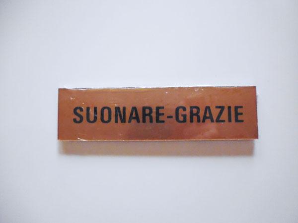 画像1: イタリア語表記シール貼付けタイプ インターホンを鳴らして下さい SUONARE GRAZIE【カラー・イエロー】【カラー・ブラック】