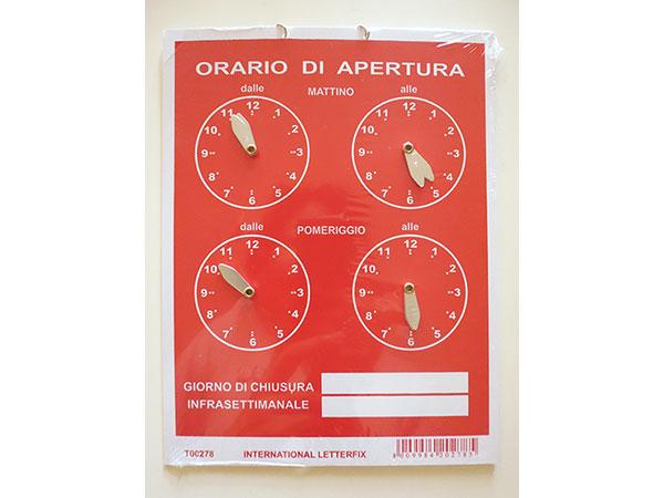 画像1: イタリア語表記営業時間表 ORARIO DI APERTURA 時計・チェーン付き 【カラー・レッド】【カラー・ホワイト】