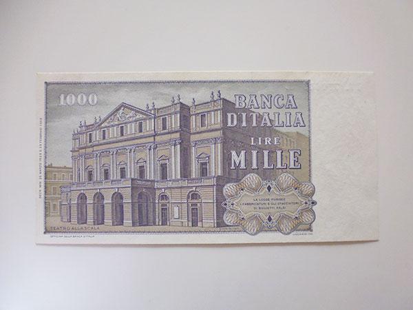 画像3: イタリアのリラ紙幣 1000リラ ジュゼッペ・ヴェルディ【カラー・ブラウン】