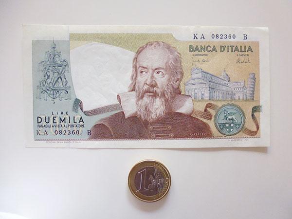画像2: イタリアのリラ紙幣 2000リラ ガリレオ・ガリレイ【カラー・グリーン】
