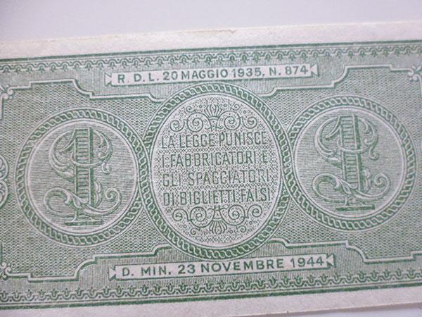 画像5: イタリア国家統一直前、イタリア王国時代の1リラ紙幣【カラー・グリーン】【カラー・ワイン】