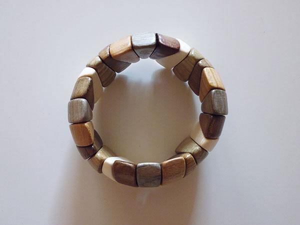 画像1: ロシア製 木製ブレスレット 手作りの美しさ 【カラー・ブラウン】【カラー・グリーン】【カラー・ホワイト】