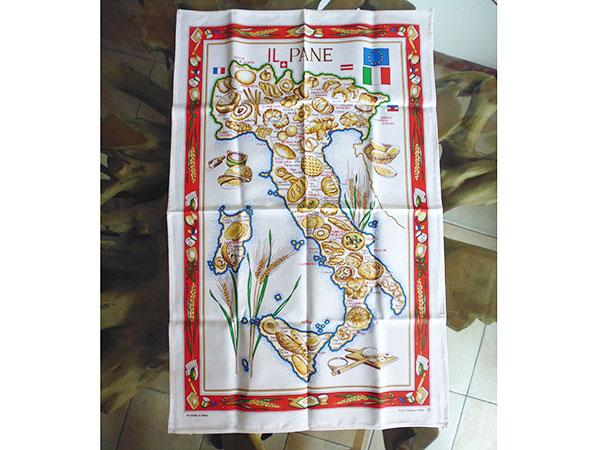 イタリア・パンマップ☆イタリア製コットン大判布巾