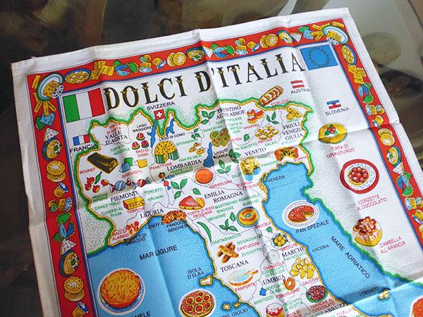 画像2: イタリア・お菓子マップ☆イタリア製コットン大判布巾 【カラー・マルチ】