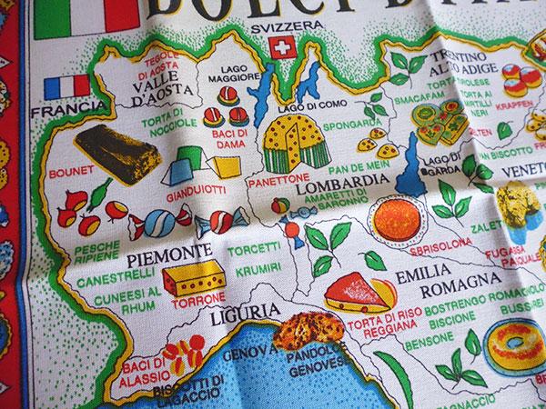 画像3: イタリア・お菓子マップ☆イタリア製コットン大判布巾 【カラー・マルチ】