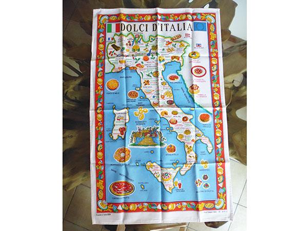 イタリア・お菓子 ドルチェ マップ☆イタリア製コットン大判布巾