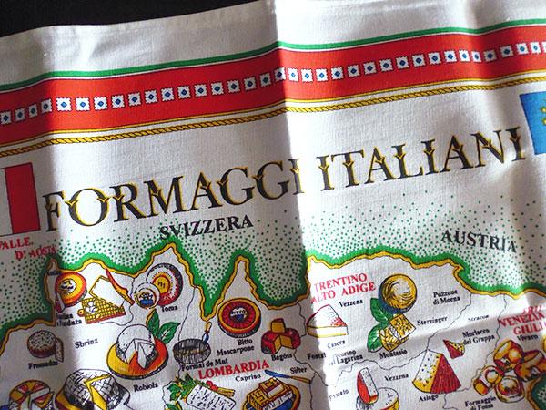 画像2: 【一点限り】イタリア・チーズマップ☆イタリア製コットン大判布巾 【カラー・マルチ】