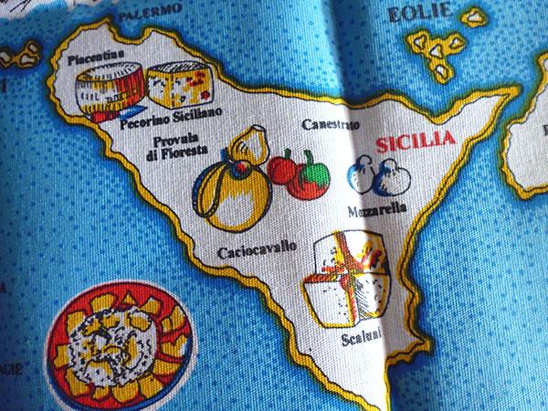 画像3: 【一点限り】イタリア・チーズマップ☆イタリア製コットン大判布巾 【カラー・マルチ】