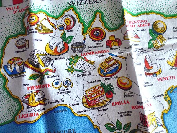 画像4: 【一点限り】イタリア・チーズマップ☆イタリア製コットン大判布巾 【カラー・マルチ】