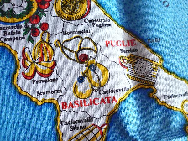 画像5: 【一点限り】イタリア・チーズマップ☆イタリア製コットン大判布巾 【カラー・マルチ】