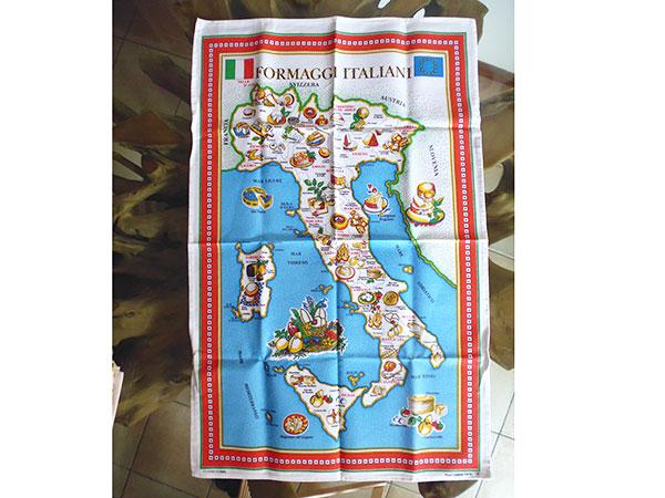 イタリア・チーズマップ☆イタリア製コットン大判布巾