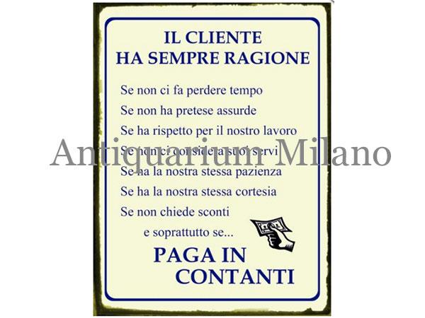 画像1: イタリア語パネル お客様のおっしゃる事はいつも正しい、ただし… IL CLIENTE HA SEMPRE RAGIONE SE...【カラー・イエロー】