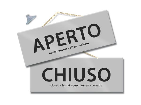 画像1: イタリア語表記営業・休業表記札 APERTO/CHIUSO チェーン付き 【カラー・グレー】