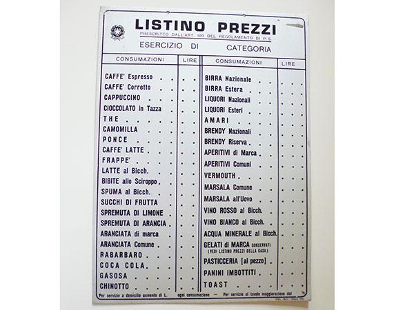 【一点限り】イタリア<br />Bar バールのプライスリスト