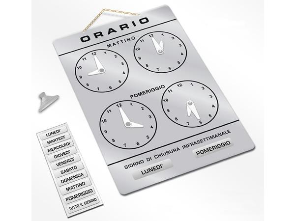 画像2: イタリア語表記営業時間表 ORARIO DI APERTURA 時計・チェーン・吸盤付き 【カラー・グレー】