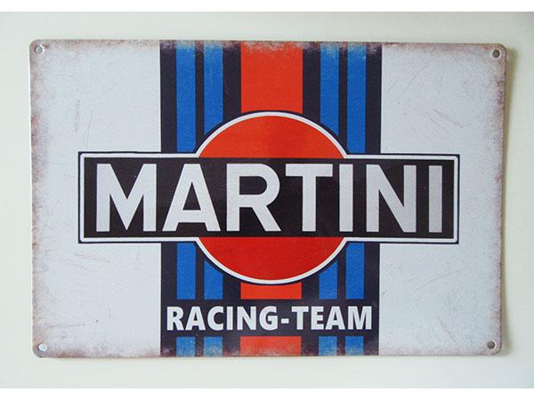 画像1: 【数量限定】アンティーク風 サインプレート MARTINI RACING-TEAM【カラー・ブルー】【カラー・レッド】【カラー・ブラック】