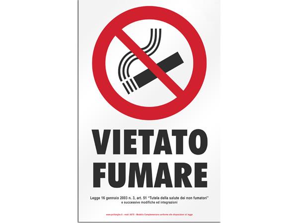 画像1: イタリア語表記  禁煙 VIETATO FUMARE 20 x 31 cm 【カラー・レッド】【カラー・ホワイト】