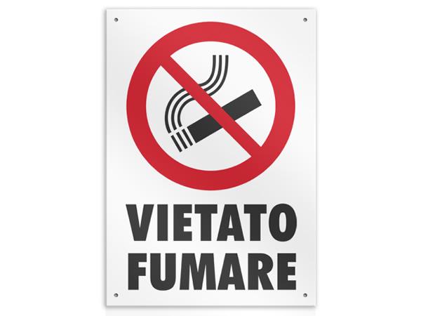 画像1: イタリア語表記  禁煙 VIETATO FUMARE 20 x 26.5 cm 【カラー・レッド】【カラー・ホワイト】