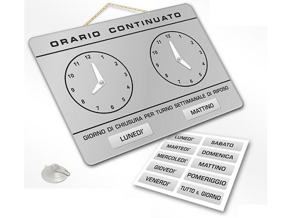画像1: イタリア語表記営業時間表 ORARIO CONTINUATO DI APERTURA 時計・チェーン・吸盤付き 17 x 24 cm 【カラー・グレー】