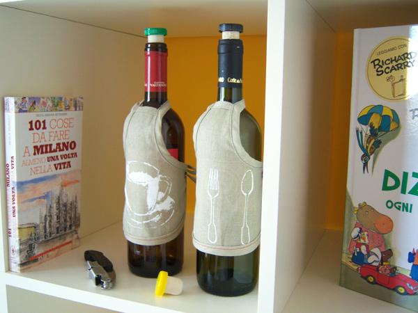画像2: リネンのワインボトルカバー コーヒーカップ柄 【カラー・ホワイト】【カラー・イエロー】